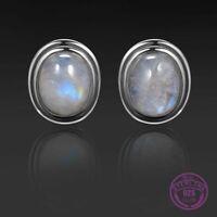 Boho Hippie 925 Silver Oval Natural RAINBOW Moonstone Stud Earrings Handmade Lot
