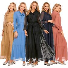 Muslim Women Mesh Long Maxi Dress Ruffled Abaya Robe Party Long Gown Jilbab Arab