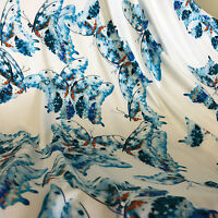 Jersey Dress Fabric Turquoise Butterfly on Ivory Lycra Sample, 1/2 or full Metre