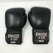 Ringside Boxing Sparring Gloves 16 oz Hook and Loop Made in USA Black