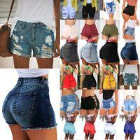 Women Summer High Waist Short Mini Jeans Denim Distressed Casual Shorts Hot Pant
