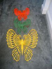 "Vintage Set Of 3 Burwood Butterflies 1971 Yellow Orange Green Butterfly 20""/12"""