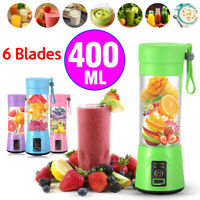 400ML Portable Pro Electric Juicer Shaker Mixer Cup HandHeld 6 Blade USB  #