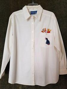 Disney Pooh Vtg Button Shirt Womens L White Winnie-the-Pooh Tigger Piglet Eeyore