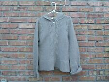 J. CREW Women's Zip-Up Cable Knit Sweater M Light Brown 100% Lambswool VGUC