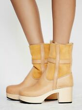 Free People Hasbeens Hippie Low Platform Clog Boot Natural 8/38 Shearling $349