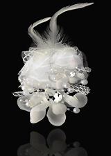 Headdress Flower Feather Rhinestone Hair Pin Brooch Clip Party Wedding White