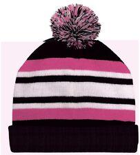 Black Pink White Pom Beanie Knit Cap Skully Winter Hat Stripe Watch Cuff Fashion