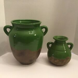 Lot Of 2 Southern Living at Home Green & Brown Tuscan Olive Jar & du Marais Vase