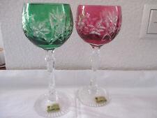 BEYER WEINKELCH 20 cm  grün/rot  24% Bleikristall handgeschliffen