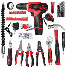 98Pcs Electric Cordless Drill Wrench Hammer Screwdriver Multifunctional Home Rep
