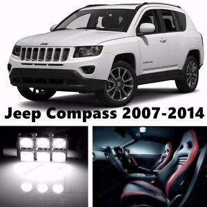 10pcs LED Xenon White Light Interior Package Kit for Jeep Compass 2007-2016