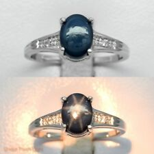 8x6mm Natural 6 Ray Blue Star-Sapphire Ring With White Topaz in Sterling Silver