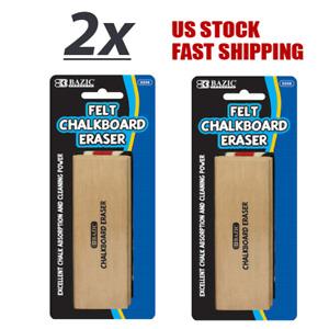 2 Pack - Felt Chalkboard Eraser Excellent Chalk Absorption w/Durable Wood Handle