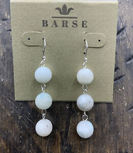 Barse Matte Amazonite Beaded Earrings- Sterling Silver- New with Tags