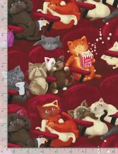 Timeless Treasures ~ Scaredy CATS Movie Theater ~ 100% Cotton Quilt Fabric BTY