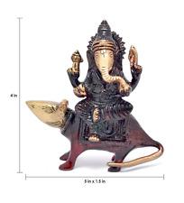 Hindu God Ganesh Ganesha Statue on Rat Hinduism Brass Figurine Deity Sculpture