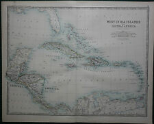 1887 LARGE VICTORIAN MAP ~ WEST INDIA ISLANDS CENTRAL AMERICA CUBA JAMAICA HAITI