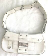 Vintage Christian Dior White Leather Street Chic Columbus Avenue Bag and dustbag