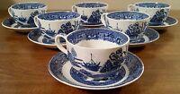 6 Vintage Homer Laughlin Blue Delph Cup & Saucer Sets