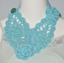 New Handmade Crochet Blue Soft Acrylic Stylish Neck Warmer Scarf Headband