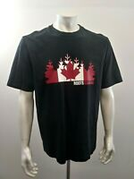 Roots Canada Men's XL Black Cotton Crew Neck Canadian Flag Short Sleeve T Shirt