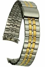 Acciaio Inossidabile Cinturino Bicolore 18 mm rundanstoss Chiusura a Clip Uhrband
