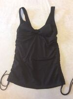Lands End 4 Tankini Swimsuit Top Brown Ruched Side Adjustable Women Swim