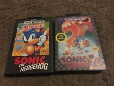 SONIC THE HEDGEHOG 1 & 2, NOT FOR RESALE VERSIONS, SEGA GENESIS, W/CASES