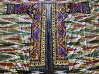 Antique Uzbek Vintage Handmade Embroidery SUZANI Robe Dress chapan jacket caftan