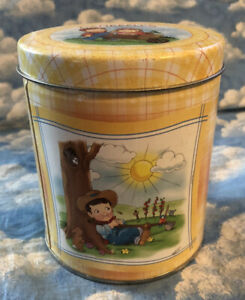 CAMPBELL'S KIDS YELLOW PLAID TIN WITH LID