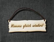 """Holz Türschild mit Lederband """"Komme gleich wieder!"""" Holz Vintage Style kalkweiss"""