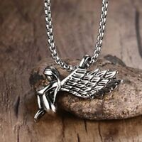 Fashion Titanium Stainless Steel Girl Angel Wings Retro Necklace Pendant H