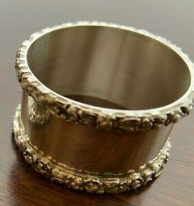 Vintage Stieff Sterling Silver Napkin Ring Repousse Rose Pattern