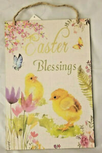 """Easter Blessings Hanging Sign Decor 8""""X12"""" w"""