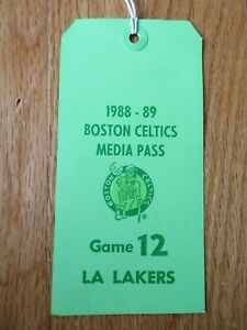 1988-89 BOSTON CELTICS Game 12 LOS ANGELES LAKERS Media Pass LARRY BIRD MAGIC