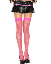 Punk Goth Neon Fishnet Thigh High Wide Net Mesh Stockings Medium/Plus Size Pinup