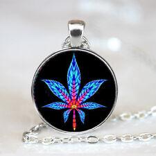 Tie Dye Marijuana Leaf Glass Dome Tibet silver Chain Pendant Necklace,Wholesale