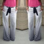 Fashion Women's Stripe Casual Stretch Pants Wide Leg Long Loose Palazzo Trousers