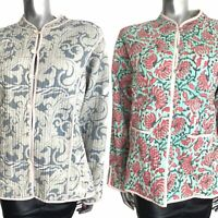 Handmade Quilted Jacket Reversible Paisley Grey Baroque Green Indian Plus 18 20