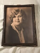 Vintage Wood Picture Frame w/Glass and Woman's Picture- 1926