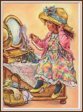 Kids in Art Girl & Mirror Little fashionista Fashion Dress Russian Postcard mdrn