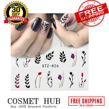 Water Nail Decal and Sticker Flower Leaf Tree Green Simple Summer DIY Slider for