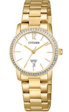 Citizen EU6032-85A Women's Gold Tone Swarovski Accented Bezel White Dial Watch