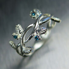 Natural blue diamonds 9ct or 375 white gold engagement ring nature organic crown