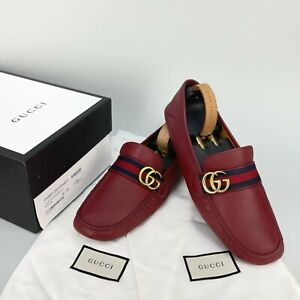$620 GUCCI Web double G driving loafer moccasin red leather 11 US 44 EUR