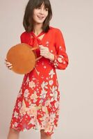 EUC $228 Anthropologie Lily Printed Red Silk Dress by Moulinette Soeurs Size 4