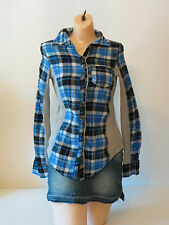 Juniors Shirt One Step Up Blue  Plaid Button Up Front Collar Medium Long Sleeve