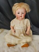 "ANTIQUE NIPPON 15""  BISQUE HEAD DOLL Japan BABY booties yellow mohair teeth"