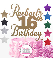 Name Birthday cake topper Personalised Any AGE ANY NAME 16th Sixteenth